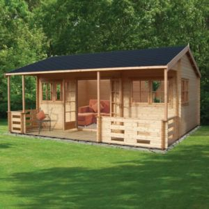 18X20 Kingswood 44mm Tongue & Groove Timber Log Cabin with Assembly Service