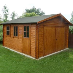 View Shire 14X17 Log Profile Wooden Garage - Assembly Required details