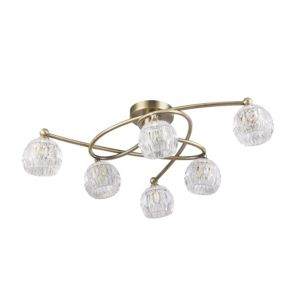 Image of Chandler Cut Glass Gold 6 Lamp Ceiling Light