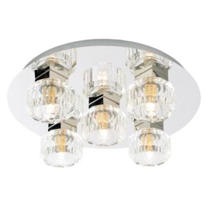 Image of Apsley Clear Chrome Effect 5 Lamp Bathroom Ceiling Light