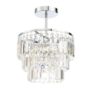 Image of Bargo Clear Chrome Effect 3 Lamp Bathroom Ceiling Light