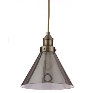 Image of Dafyd Smoked Glass Pendant Ceiling Light