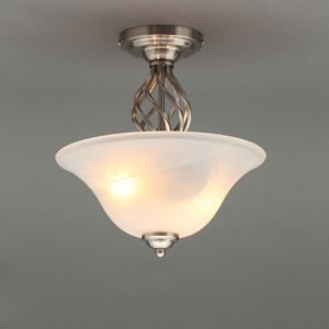 Image of Rolli Brushed Nickel effect 2 Lamp Ceiling light