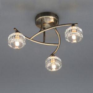 Image of Allyn Antique Brass Effect 3 Lamp Ceiling Light