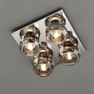 Image of Allyn Black Chrome Effect 4 Lamp Ceiling Light