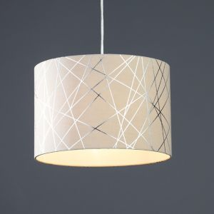 Image of Carme Mocha Silver effect Drum Light shade (D)300mm