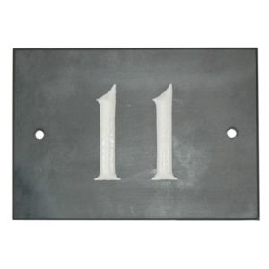 View Black Slate Rectangle House Plate Number 11 details