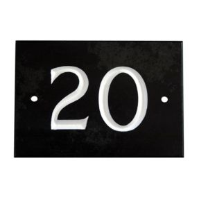 View Black Slate Rectangle House Plate Number 20 details