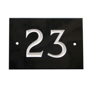 View Black Slate Rectangle House Plate Number 23 details