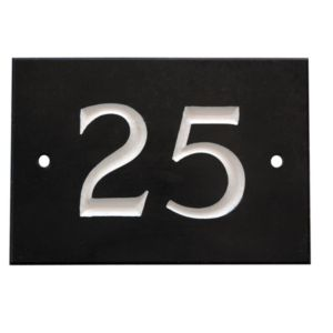 View Black Slate Rectangle House Plate Number 25 details
