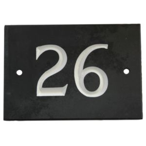 View Black Slate Rectangle House Plate Number 26 details
