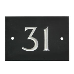 View Black Slate Rectangle House Plate Number 31 details