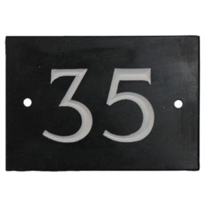 View Black Slate Rectangle House Plate Number 35 details