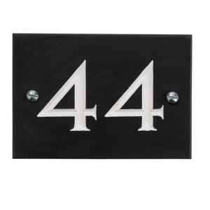View Black Slate Rectangle House Plate Number 44 details