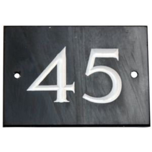 View Black Slate Rectangle House Plate Number 45 details