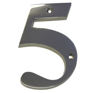 View Chrome Effect Brass House Number 5 details