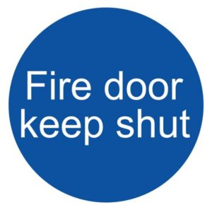 Image of The House Nameplate Company PVC Self Adhesive Fire Door Keep Shut Sign (H)100mm (W)100mm