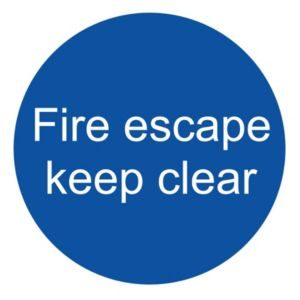 Image of The House Nameplate Company PVC Self Adhesive Fire Escape Keep Clear Sign (H)100mm (W)100mm