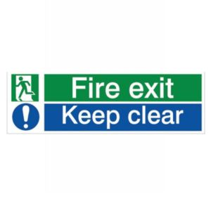 View The House Nameplate Company PVC Self Adhesive Fire Exit & Keep Clear Sign (H)125mm (W)400mm details