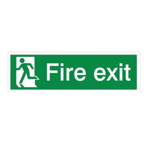 View The House Nameplate Company PVC Self Adhesive Fire Exit Running Man Left Sign (H)125mm (W)400mm details
