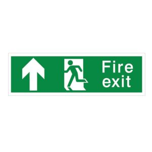 View The House Nameplate Company PVC Self Adhesive Fire Exit Arrow Up Sign (H)125mm (W)400mm details