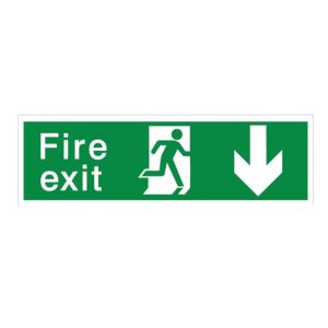 View The House Nameplate Company PVC Self Adhesive Fire Exit Arrow Back Sign (H)125mm (W)400mm details