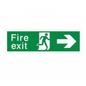View The House Nameplate Company PVC Self Adhesive Fire Exit Arrow Right Sign (H)125mm (W)400mm details