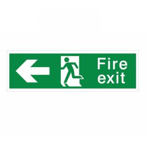 View The House Nameplate Company PVC Self Adhesive Fire Exit Arrow Left Sign (H)125mm (W)400mm details