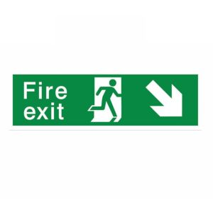 View The House Nameplate Company PVC Self Adhesive Fire Exit Arrow Down Right Sign (H)125mm (W)400mm details