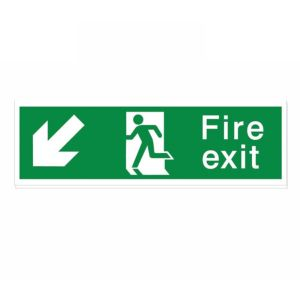 View The House Nameplate Company PVC Self Adhesive Fire Exit Arrow Down Left Sign (H)125mm (W)400mm details