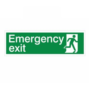 View The House Nameplate Company PVC Self Adhesive Emergency Exit Running Man Left Sign (H)125mm (W)400mm details