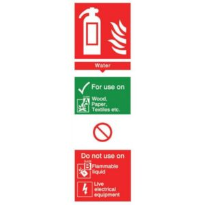The House Nameplate Company PVC Self Adhesive Fire Extinguisher Water Sign (H)280mm (W)85mm