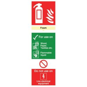 The House Nameplate Company PVC Self Adhesive Fire Extinguisher Foam Sign (H)280mm (W)85mm