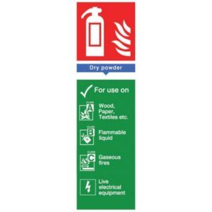 The House Nameplate Company PVC Self Adhesive Fire Extinguisher Dry Powder Sign (H)280mm (W)85mm