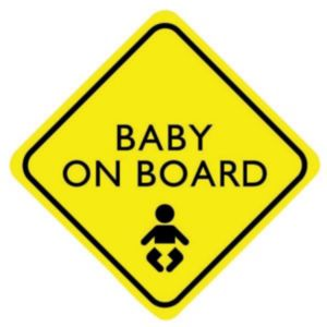 Image of PVC Self Adhesive Baby On Board Window Sign (H)150mm (W)150mm