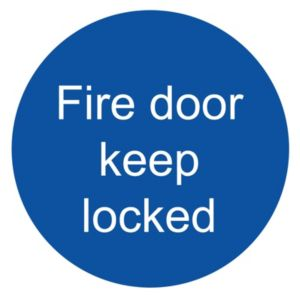 Image of The House Nameplate Company PVC Self Adhesive Fire Door Keep Locked Sign (H)100mm (W)100mm