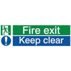 The House Nameplate Company PVC Self Adhesive Fire Exit Keep Clear Sign (H)80mm (W)250mm