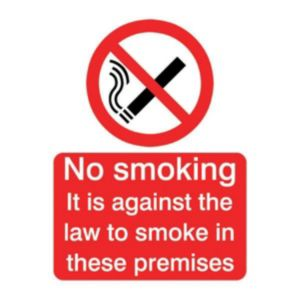 View The House Nameplate Company PVC Self Adhesive Against The Law No Smoking Sign (H)200mm (W)150mm details