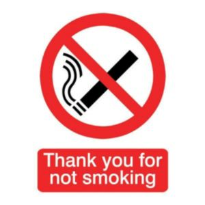 The House Nameplate Company PVC Self Adhesive Thank You For Not Smoking Sign (H)200mm (W)150mm