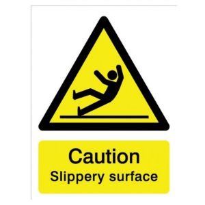 Image of The House Nameplate Company PVC Self Adhesive Caution Slippery Surface Sign (H)200mm (W)150mm