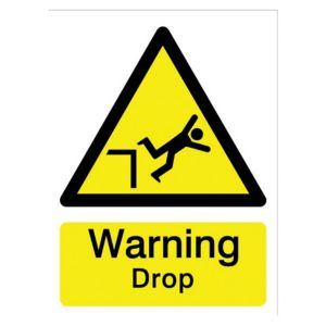 View The House Nameplate Company PVC Self Adhesive Warning Drop Sign (H)200mm (W)150mm details