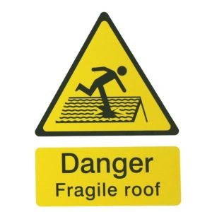 Image of The House Nameplate Company PVC Self Adhesive Danger Fragile Roof Sign (H)200mm (W)150mm
