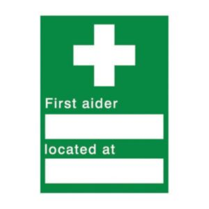 View The House Nameplate Company PVC Self Adhesive First Aider Located At Sign (H)200mm (W)150mm details