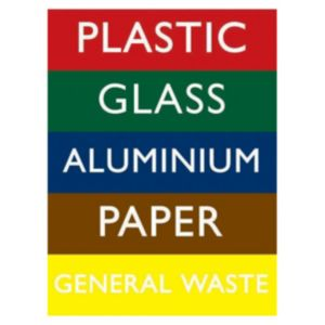 View The House Nameplate Company PVC Self Adhesive Recycling Bin Sticker (H)200mm (W)150mm details