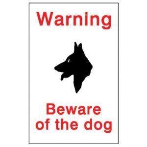 Image of The House Nameplate Company PVC Self Adhesive Beware Of The Dog Sign (H)150mm (W)100mm