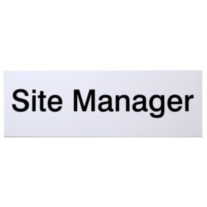 View The House Nameplate Company PVC Self Adhesive Site Manager Sign (H)100mm (W)250mm details