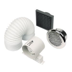 View Manrose Silver ABS Thermoplastic & PVC Shower Fan Kit details