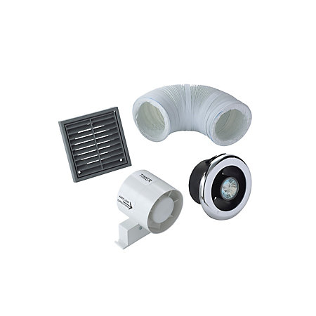 Manrose vdisl100t shower light bathroom extractor fan kit - Bathroom light with extractor fan ...
