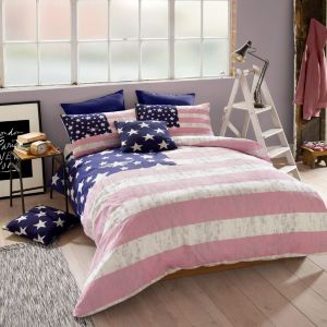 American Freshman Lenox Pink & Blue Single Bed Set