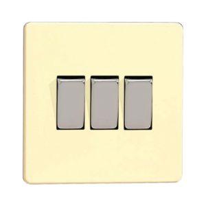 Image of Varilight 10A 2-Way White Chocolate Triple Light Switch